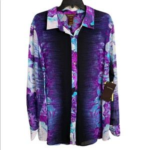 Multiples Abalone Buttoned top NWT Sz 1X
